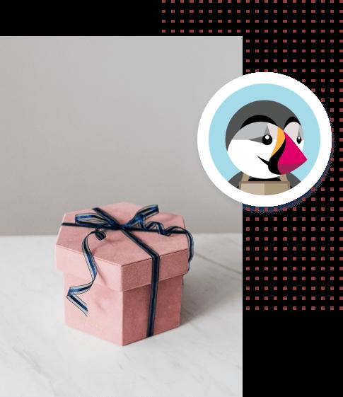 Zdjęcie różowego pudełka prezentowego ze wstążką a na nim logo Presta Shop zamknięty w białym okręgu.